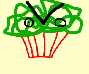 Angry mass of green spaghetti eyes cupcake