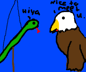 Handpuppet snake and eagle greet each other