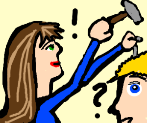 women hammering nails in man's head