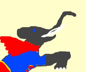 Elephant wants to be superman