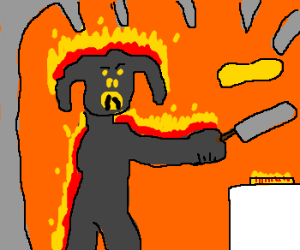 The Balrog of Morgoth eats pancakes