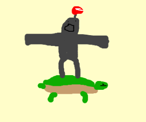 Robot with red light rides atop a turtle