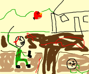 Soldier launches Angry Bird towards house