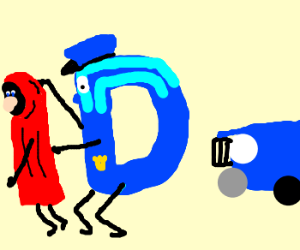 Officer Drawception arrests red caped robber