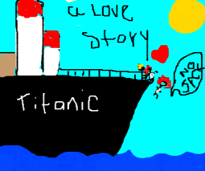 Jack contemplates pushing Rose off the Titanic