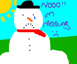 Snowman meltin in the spring