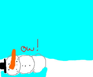 Snowman slipped and fell into the water!Oh No!