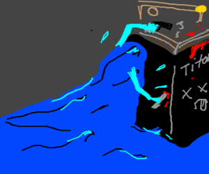A wave attacking Titanic