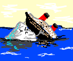 The Titanic being tackled by an iceberg