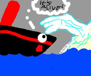 Alive iceberg takes down shocked Titanic.