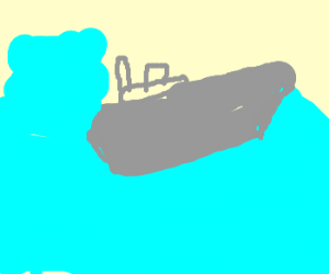 red blobs que up to jump off sinking metalship