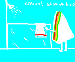 Sandwich takes his yearly shower
