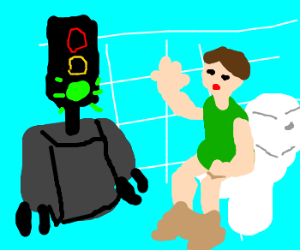 Man on toilet greets Legless Robot-Green light
