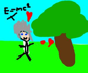 Skinny Albert flirts with tree.