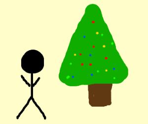 A man and a christmas tree