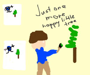 Bob Ross has a Drawception addiction