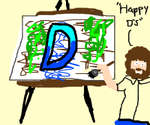 Bob Ross playing drawception