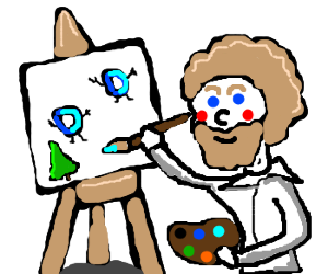 Bob Ross paints happy little Drawception D's.