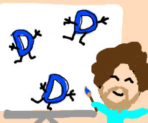 Bob Ross painting 'happy little D's'