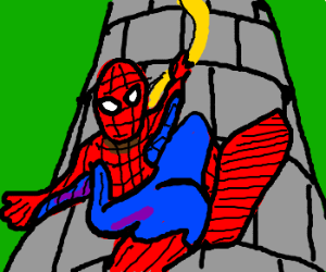 Spider-Man uses Rapunzel's hair to swing