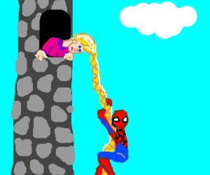 Spiderman climbs up Rapunzel's hair