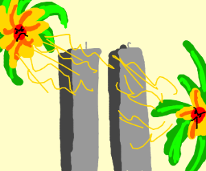 Flowers try to blow up the Twin Towers