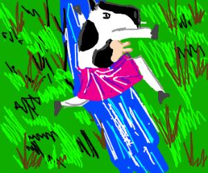 Bovine ballerina leaping over water!