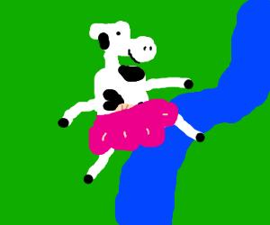 cow wearing a pink skirt jumps across a stream