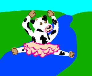 Cow wearing tutu dances over river