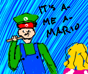 Luigi uses Mario's face to hook up with Peach