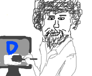 Bob Ross is having fun on Drawception
