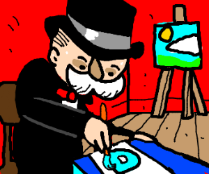 Monopoly man draws drawception icons