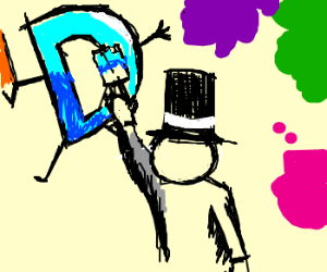 Monopoly™ man paints the Drawception logo