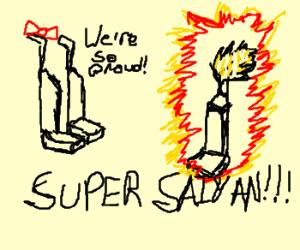 Vacuum cleaners watch their son go SuperSaiyan