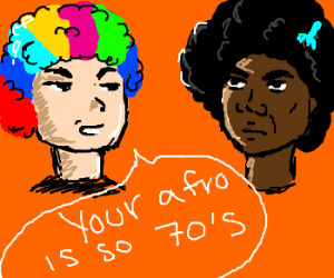 Man with rainbow afro dislikes black afro