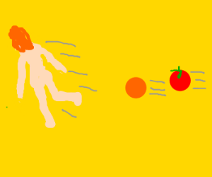 Naked blonde woman chased by tomato and orange