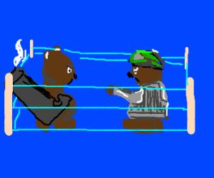 Bear arm wrestles with an armored Bear.