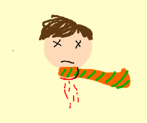 Severed head in a striped orange scarf