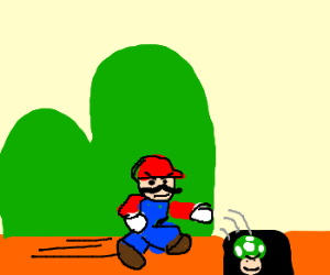 Mario chases a trolling 1-up down a hole.