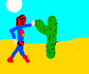 sunburned Superman tries to hi-5 desert cactus