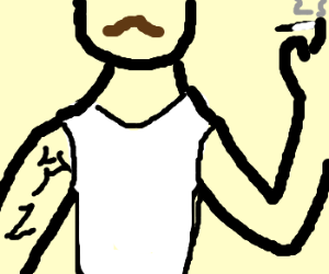 Guy with japanese tattoo on arms smoking