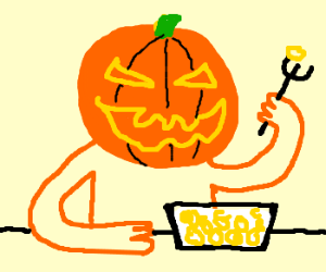Jack-O-Lantern eats corn puffs with a fork
