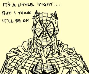 Batman steals Spiderman's costume