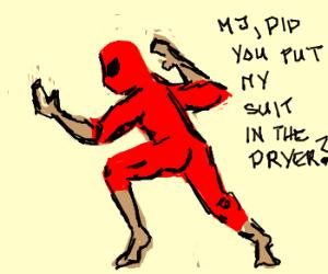 Spiderman in tight suit.