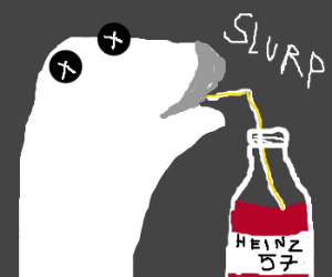 Sock puppet drinks ketchup through a tube