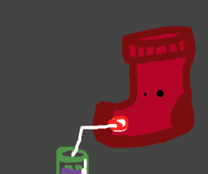 Sock puppet drinks ketchup from a straw