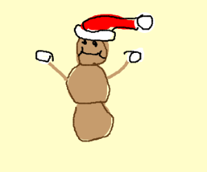 Mr Hanky wears Santa hat