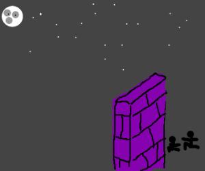 2 men crouching behind purple wall in the dark