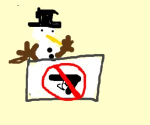 Snowman having an anti-gun rally