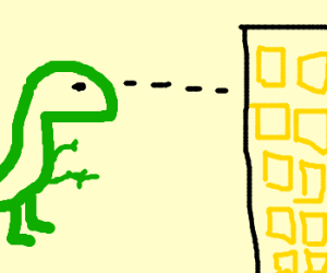 """""""Special"""" dinosaur stares down a building"""